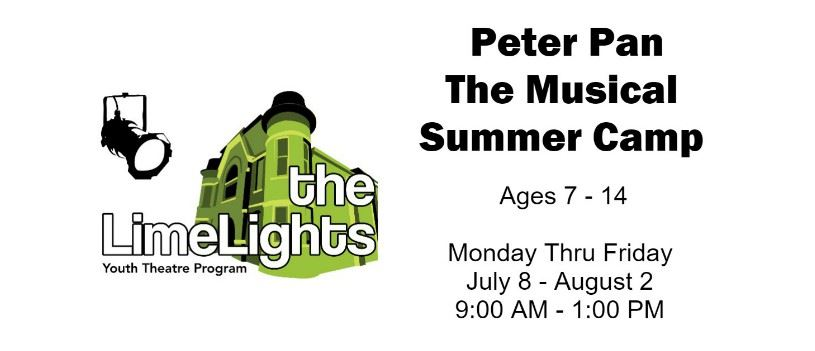 CLICK HERE for more information and registration for Peter Pan The Musical Summer Camp
